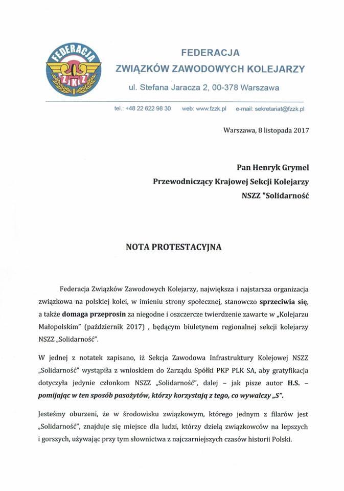 nota protestacyjna